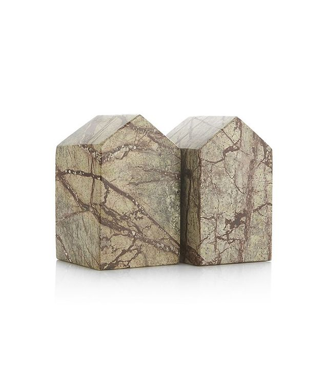 Crate & Barrel Set of 2 Marble House Bookends