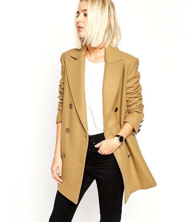 ASOS Peacoat With Double Breast In Wool Mix