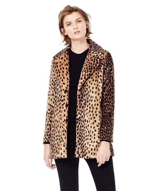 Mango Leopard Faux Fur Coat