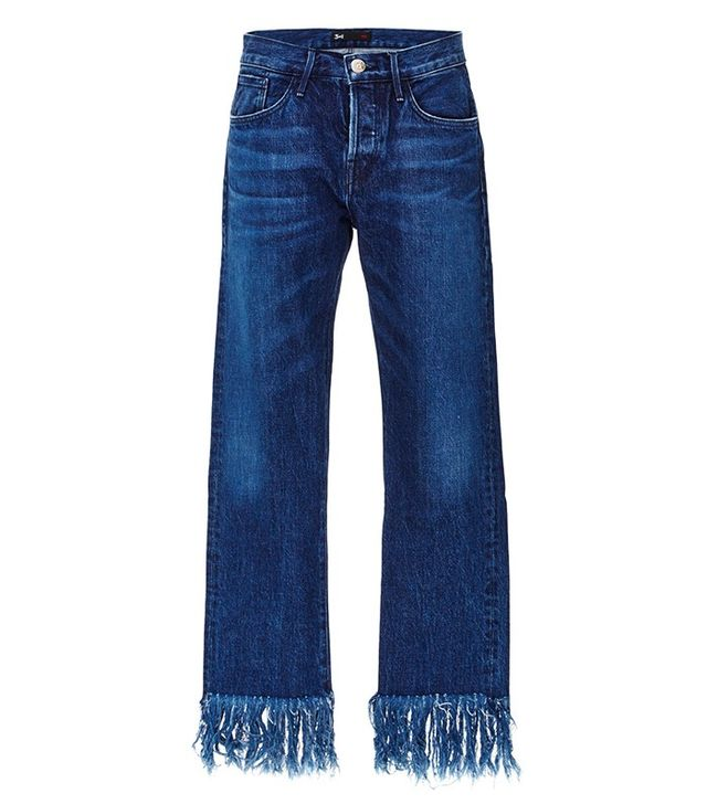 3x1 Denim Cropped Jeans With Frayed Fringed Hems
