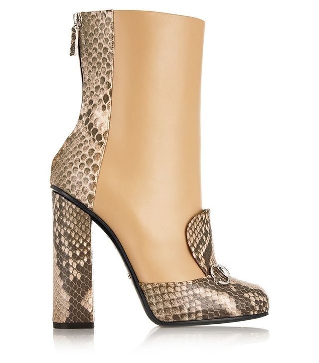 Gucci Horsebit-Detailed Python and Leather Ankle Boots