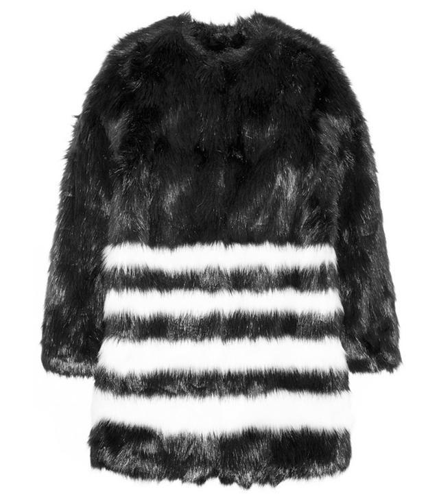 Michael Michael Kors Striped Faux Fur Coat