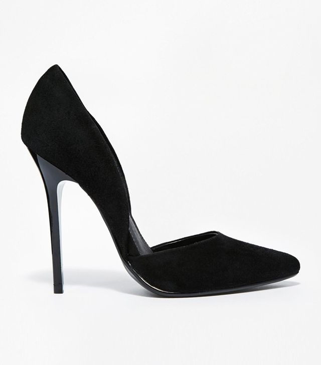 Steve Madden Varcityy Black Heeled Court Shoes