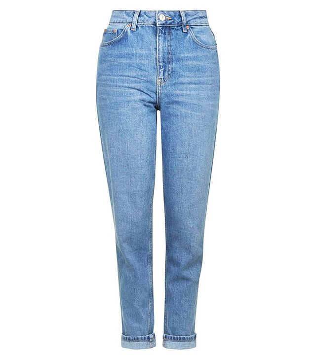 Topshop Moto Mid-Blue Mom Jeans