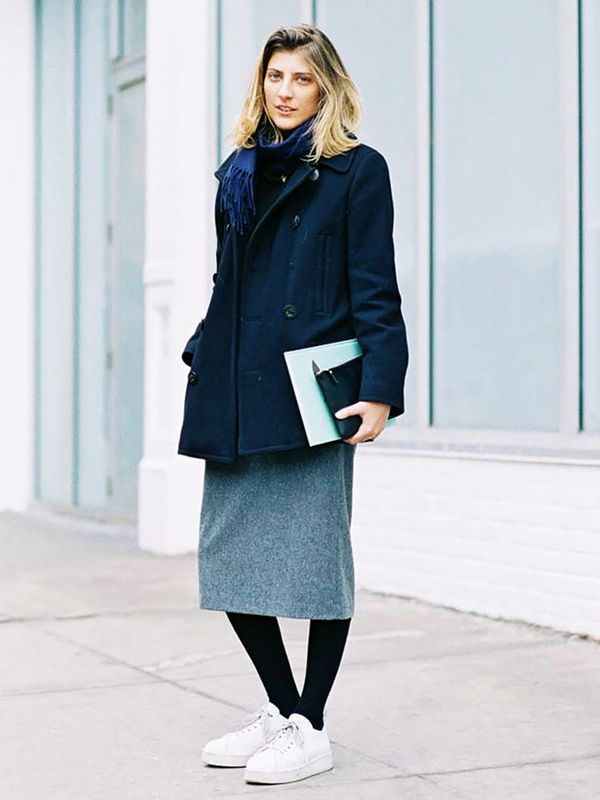 Peacoat + Pencil Skirt + Sneakers