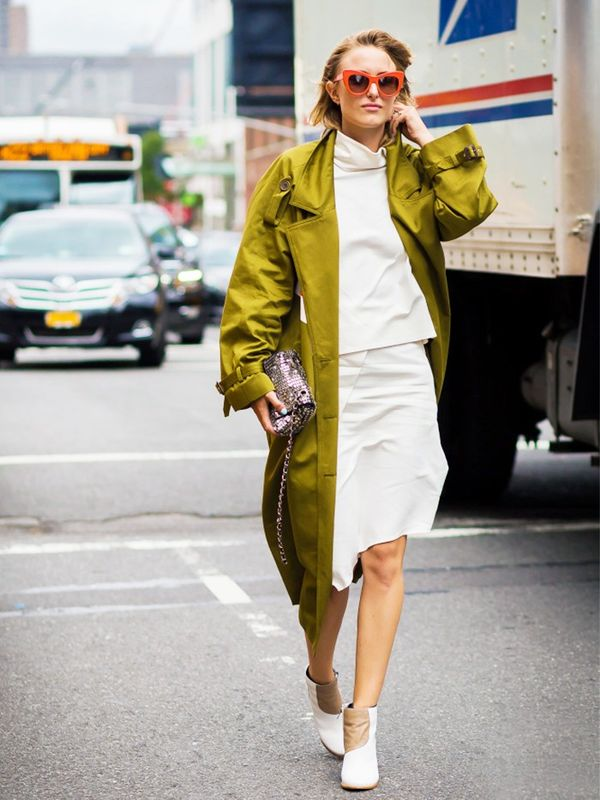 Trench Coat + White Top & Skirt + Ivory Shoes