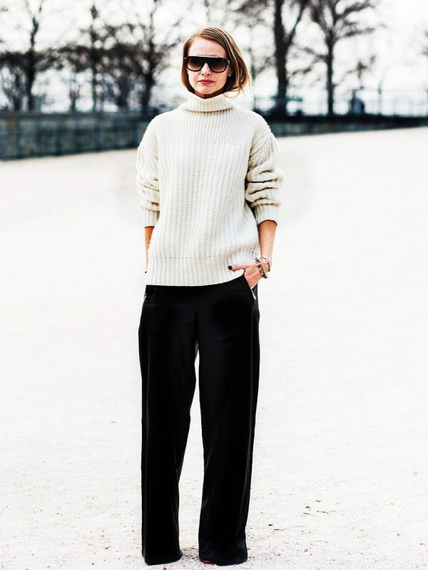 Chunky Knit + Wide-Leg Pants + Booties