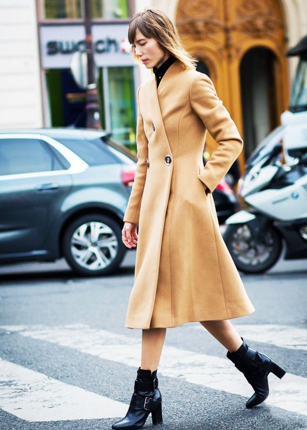 Turtleneck + Long Coat + Ankle Boots