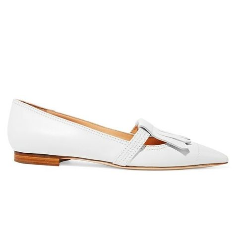Fringed Leather Point-Toe Flats