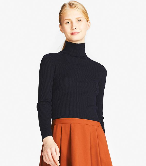 Women's Extra Fine Merino Ribbed Turtleneck Sweater, Off White, XXS