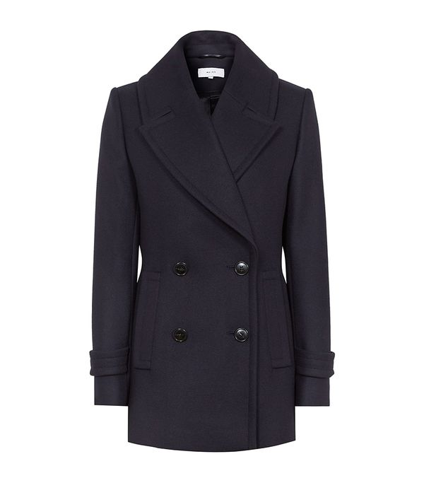 Reiss Malia - Double-breasted Peacoat in Night Navy