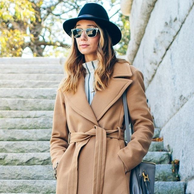 Steal This Blogger's Stylish Camel Wrap Coat Look