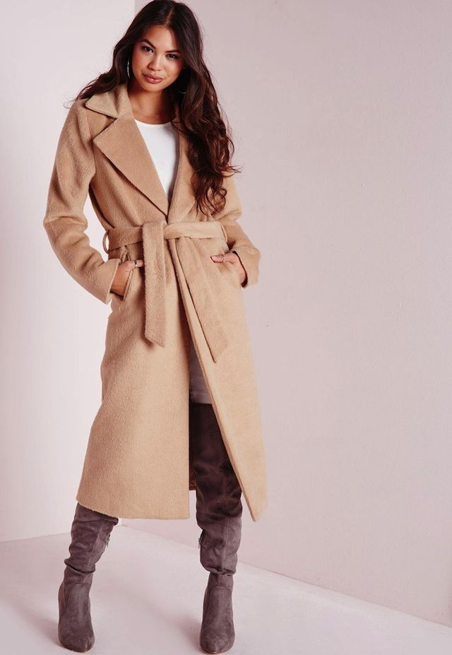Missguided Belted Brushed Coat Camel