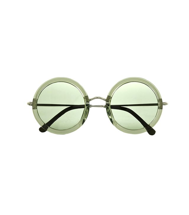 The Row Leather-Trimmed Round-Frame Sunglasses