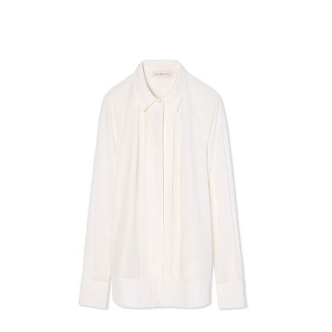 Stretch Silk Pleat-Front Shirt