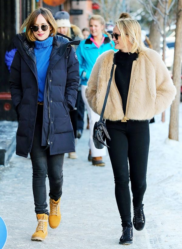 Wear a chunky sweater under your puffer, à la Dakota Johnson. That way, you won't have to hide your figure by zipping it to your neck. Bonus points for the cinched-in waist of her long puffer.