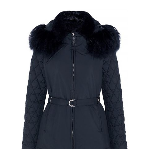 Hooded Shearling-Trimmed Quilted Shell Jacket