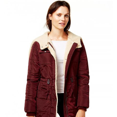 Hooded Sherpa-Lined Puffer Coat