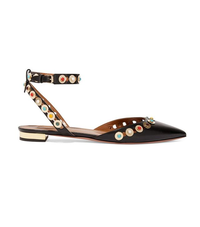 Aquazzura Byzantine Embellished Leather Point-Toe Flats