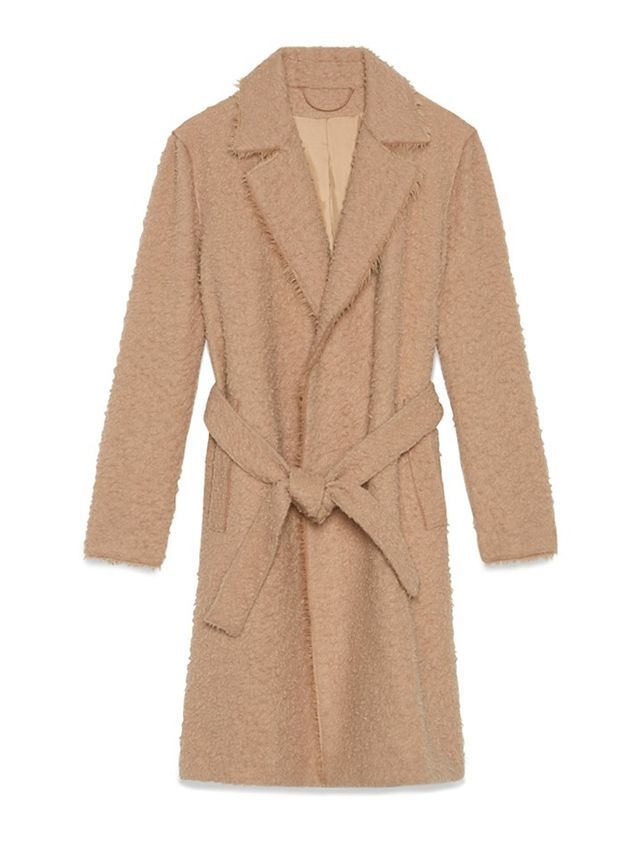 Helmut Lang Shaggy Wool Belted Overcoat