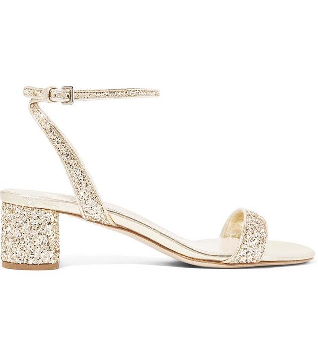 Miu Miu Glittered Leather Sandals
