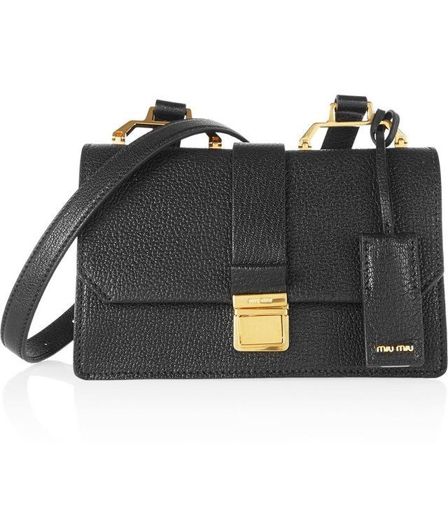 Miu Miu Madras Small Textured-Leather Shoulder Bag