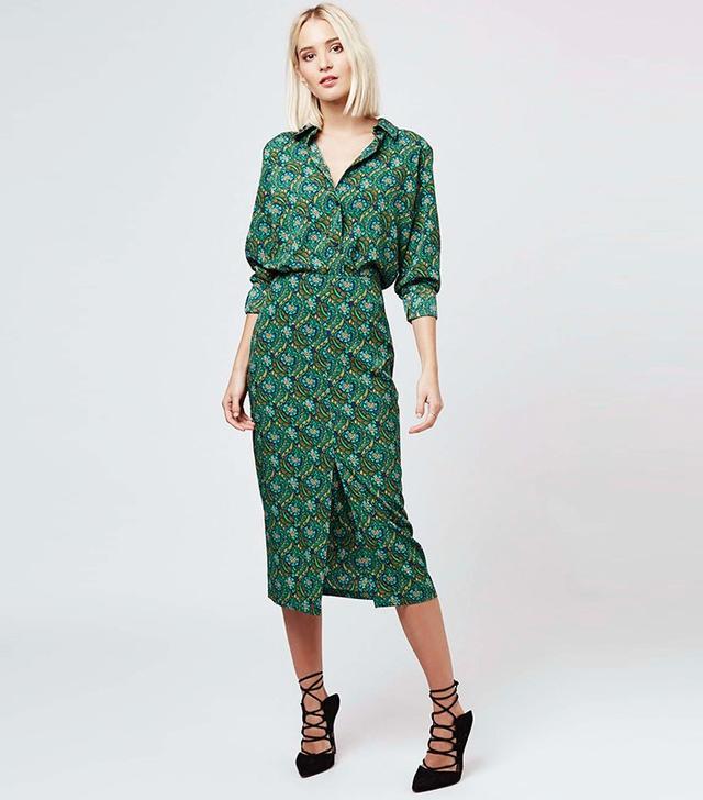 Topshop Floral Split Front Midi Skirt