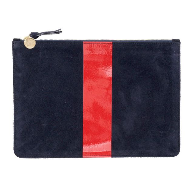 Clare V. Flat Clutch in Navy Suede