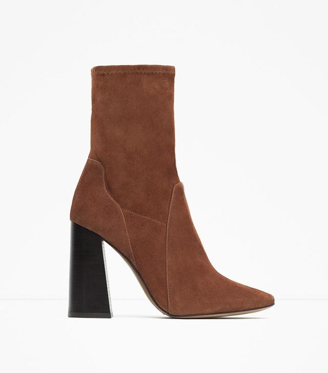 Zara High Heel Suede Ankle Boots