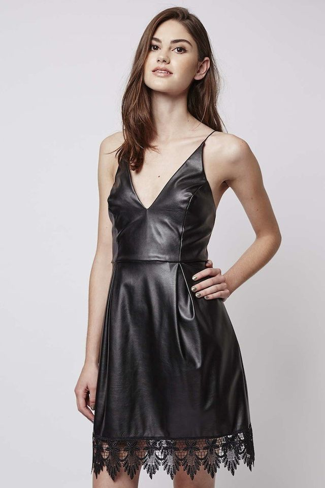 Topshop Plunge Front PU Dress