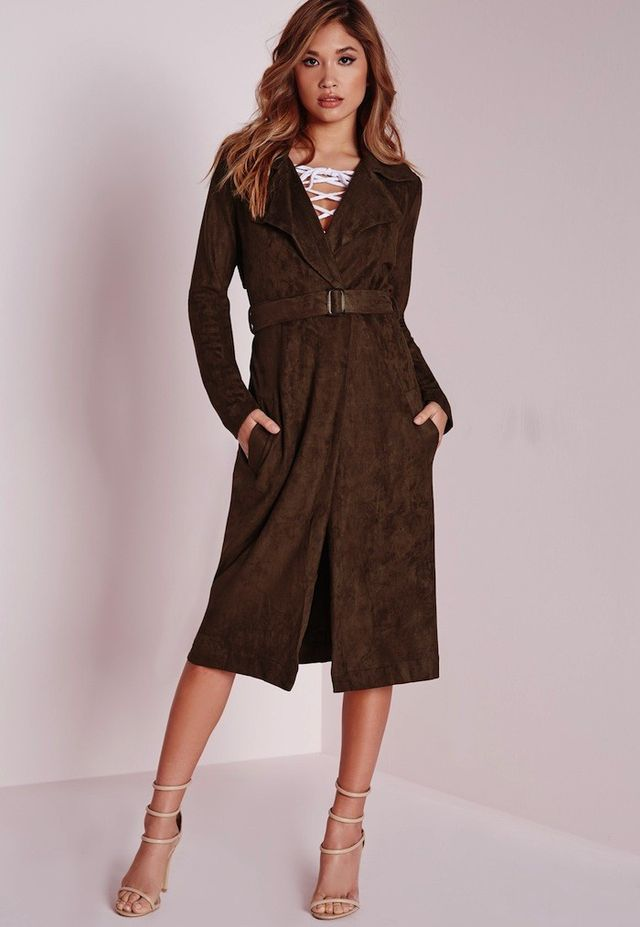 Missguided Faux Suede Trench Coat Brown