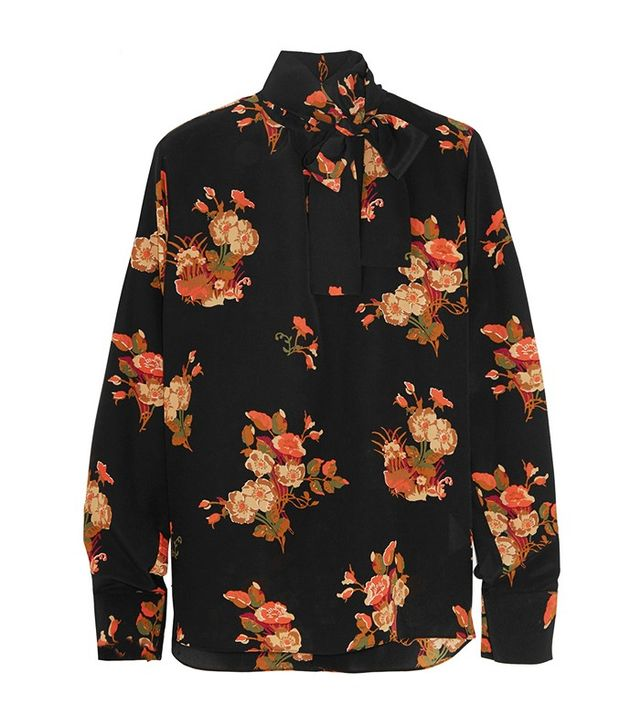 Valentino Pussy-Bow Floral Silk Blouse