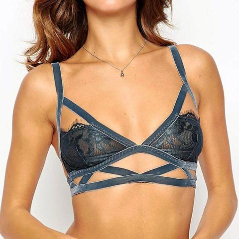 Khaleesi Velvet & Lace Caged Triangle Bra