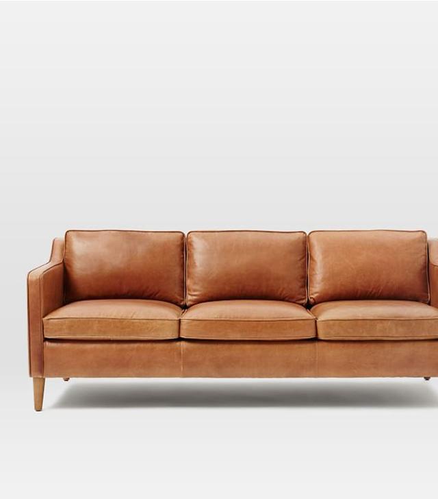 West Elm Hamilton Leather Sofa in Sienna