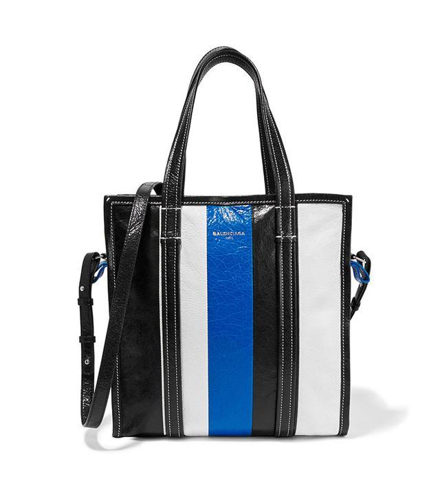 Balenciaga Bazar Striped Textured-Leather