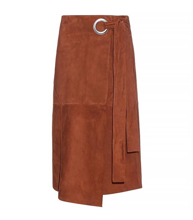 Tibi Wraparound Suede Skirt