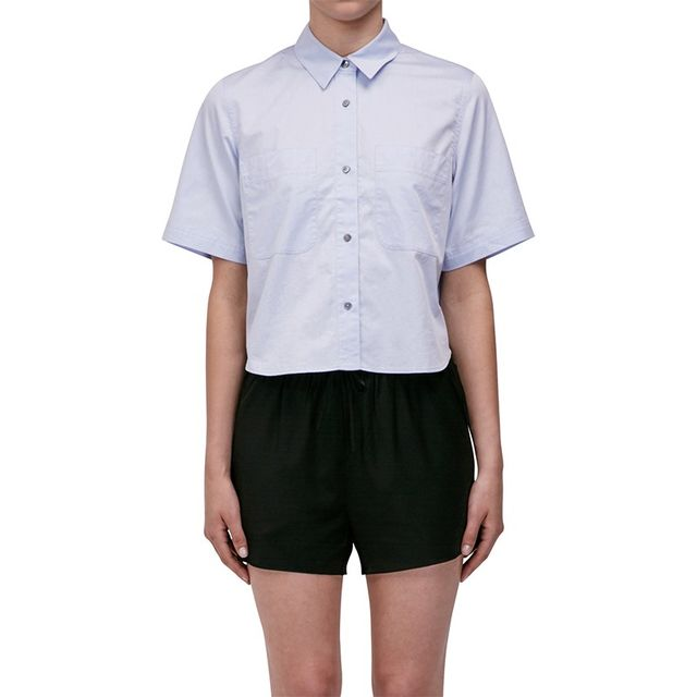 T By Alexander Wang Cropped Short Sleeve Shirt