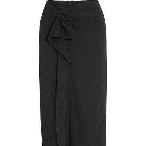 Quantin Ruffled Stretch-Crepe Skirt