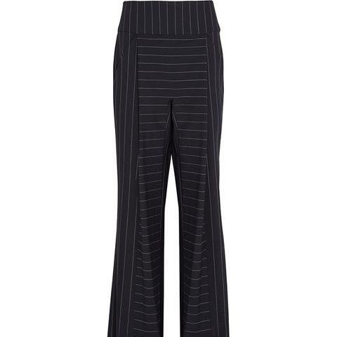 Pinstriped Stretch-Cady Wide-Leg Pants