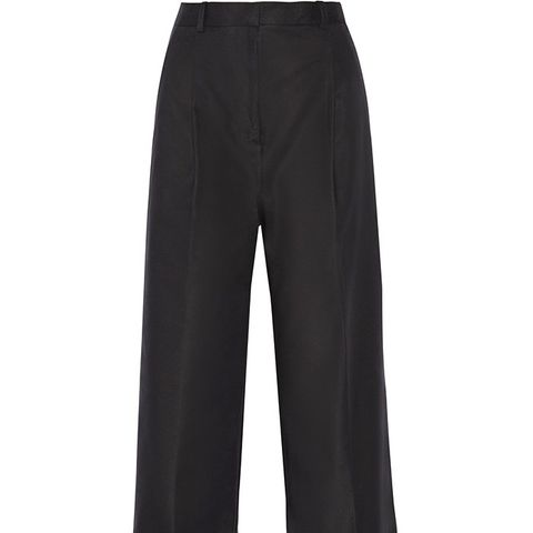 Cropped Cotton-Blend Wide-Leg Pants