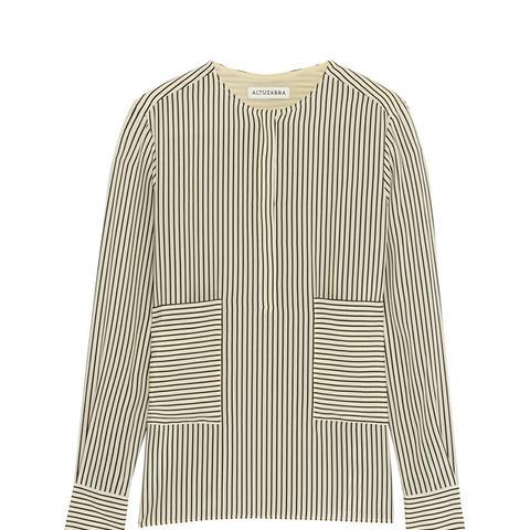 Carnegie Pinstriped Silk Crepe de Chine Shirt