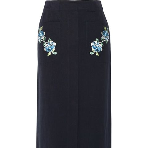 Embroidered Cotton-Twill Midi Skirt