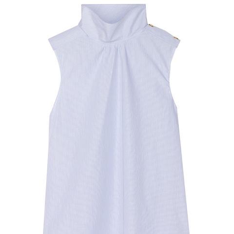 Pinstriped Cotton-Poplin Top