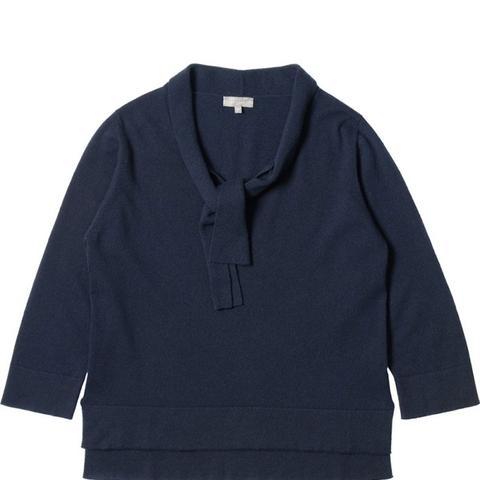 Tie-Neck Cashmere Top
