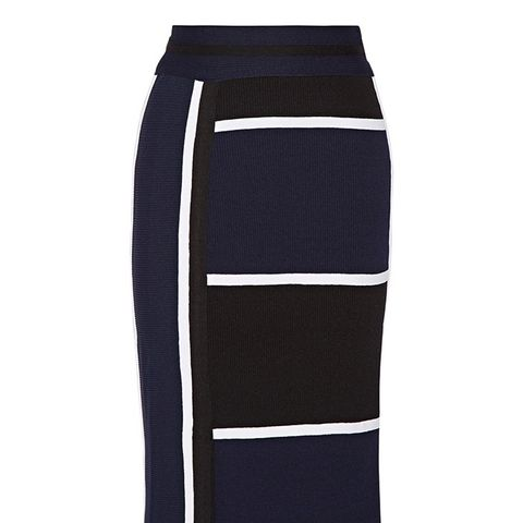 Ribbed Stretch-Knit Skirt