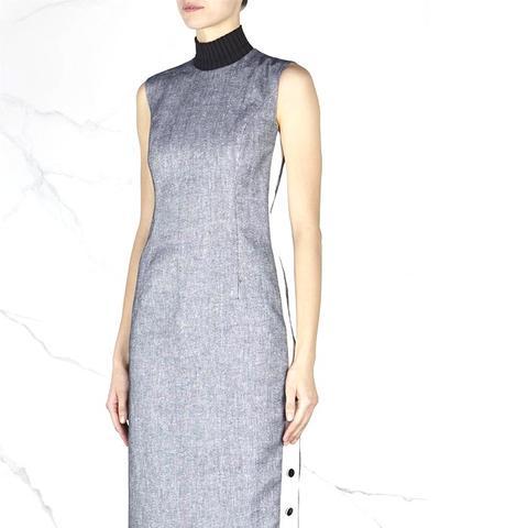 Blue Linen Blend Dress