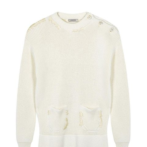 Ivory Cotton and Silk Blend Jumper