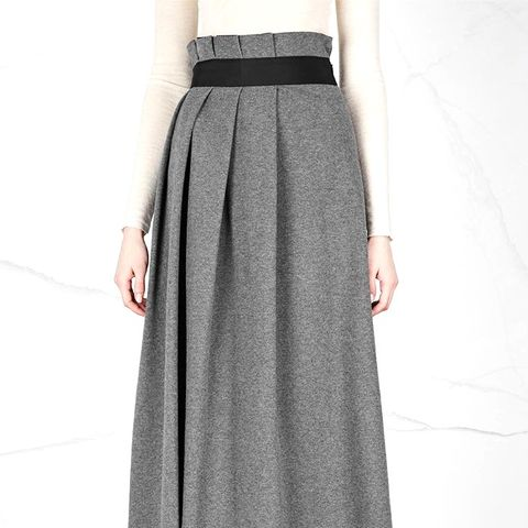 Grey Pleated Jersey Midi Skirt