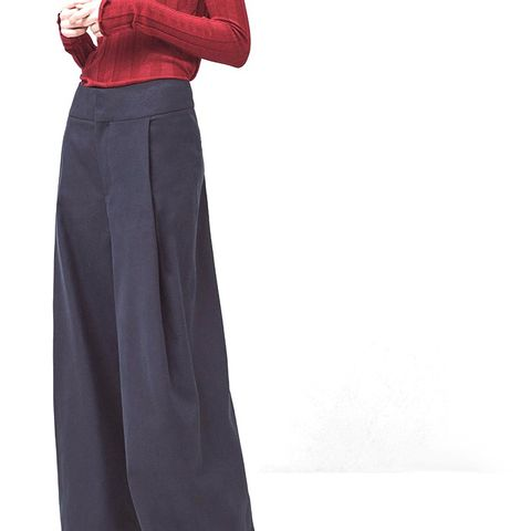 Flared Cotton Linen-Blend Trousers
