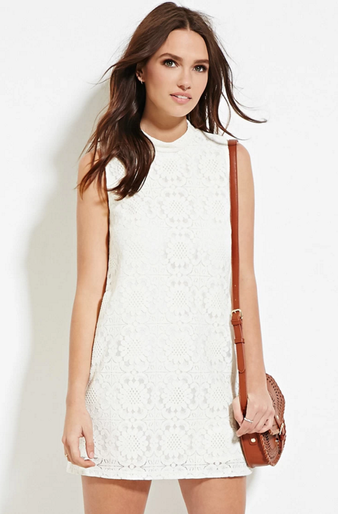 Forever 21 Embroidered Lace Overlay Shift Dress